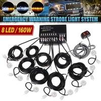 8PCS LED Bulbs Headlight Kit Car Hide Away Emergency Hazard Warning Flash Strobe Light System Kit 12V 160W