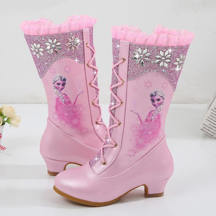 Autumn Winter New High Boots Girls Princess High-heeled Children Sequins Snow Boots Kids Cartoon Snow Queen Boots