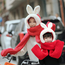 Scarf Hat Cartoon Rabbit Ear 3 In 1 Women Kids Boys girls Fluffy Plush Hooded Mittens Gloves Thicken Winter Warm Cap Pocket(China)
