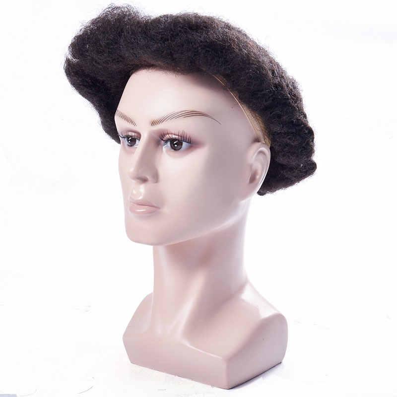 AddBeauty negro para hombre peluca tupé fina piel 0,12mm Afro rizado sistema de reemplazo hecho a mano piezas de pelo indio humano Remy
