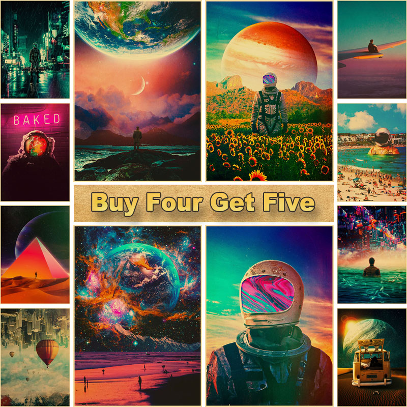 Astronaut Space Dreaming Printed Painting Pictures Vintage Posters and Prints Wall Art Sticker for Living Room Home Bar Decor