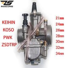 ZS Racing 2T 4T Universal Keihin Koso OKO Motorrad Vergaser Carburador 21 24 26 28 30 32 34mm Mit Power Jet Für Racing Moto