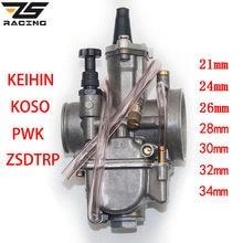 ZS Racing 2T 4T Universal Park PWK OKO Carburador de la motocicleta Carburador 21 24 26 28 30 32 34mm con poder Jet para Racing Moto