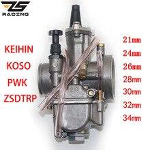 ZS Racing 2T 4T universel Keihin Koso OKO Moto carburateur Carburador 21 24 26 28 30 32 34mm avec Jet de puissance pour Moto de course