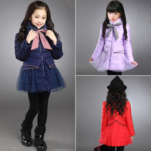 Children Coat Baby Girls Winter Coats Striped Bow Long Sleeve Overcoat Girl's Warm Baby Jackets Outerwear Children Parka Clothes