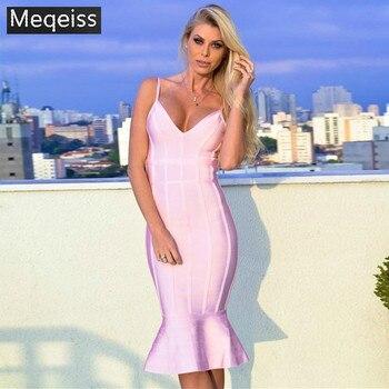 MEQEISS  2018 New Elegant Fashion Color Striped Choker Sleeveless Wholesale Women Celebrity Party Bandage Dress