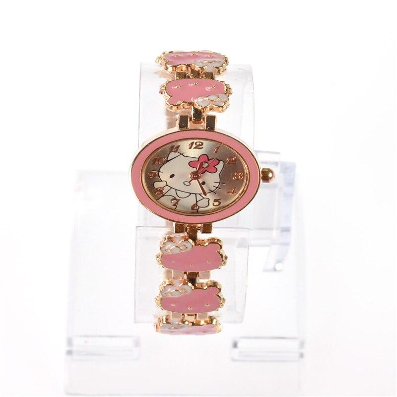 O.T.Sea Brand Lovely Cartoon Cat Bracelet Watch Children Girls Women Fashion Crystal Dress Quartz Wristwatch Relojes Mujer