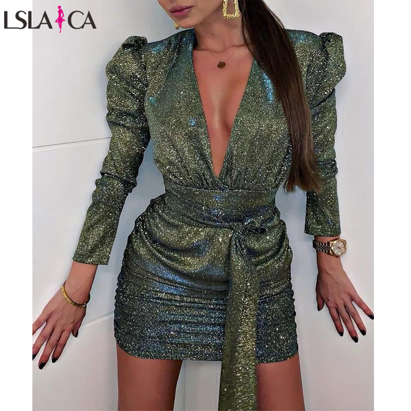 Fashion Women Dress Deep V Neck Long Sleeve Pleated Strappy Sexy Ladies Mini Dress Autumn Puff Sleeve Dark Green Vestidos