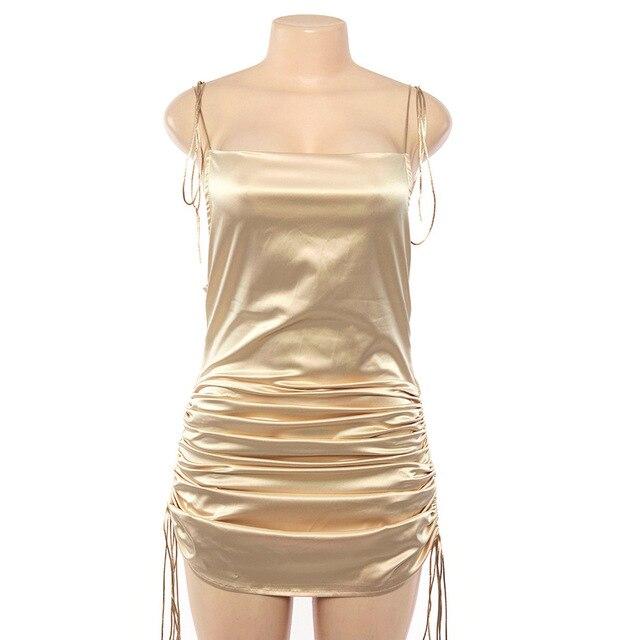 Summer Sexy Backless Satin Dress Soft Mini V Neck Bodycon Sling Casual Loose Slim Silk Bandage Length Adjustable Hot Midi Dress 6