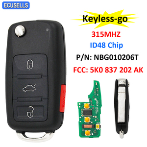 3+1/4 Button Keyless-go Remote Key 315MHz ID48 Chip for Volkswagen 2011-2017 (Models with Prox) P/N: NBG010206T 5K0 837 202 AK