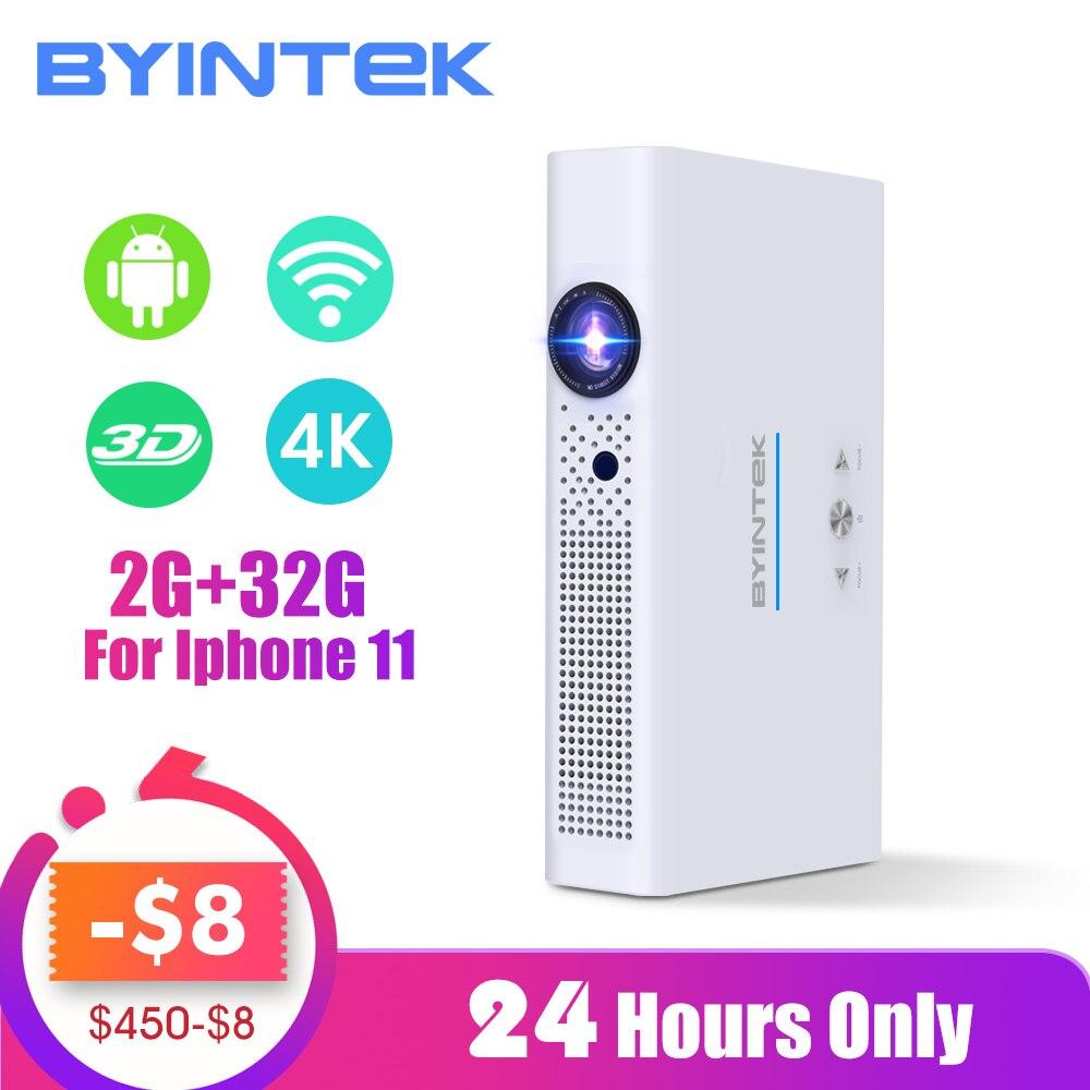 BYINTEK-Mini projecteur vidéo wi-fi, ovni R19 300 pouces 3D Smart Android, Portable, Mini-projecteur HD DLP pour le Full HD 1080P HDMI 4 K, Iphone 11