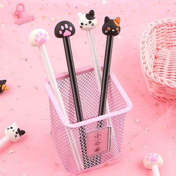 4Pcs/Lot Kawaii Cat Gel pen Lovely Claw black ink Pens For Writing Stationery Office School Supplies Canetas escolar 5 pcs lot color gel pen kawaii super hero superman stationery canetas escolar papelaria gift office material school supplies