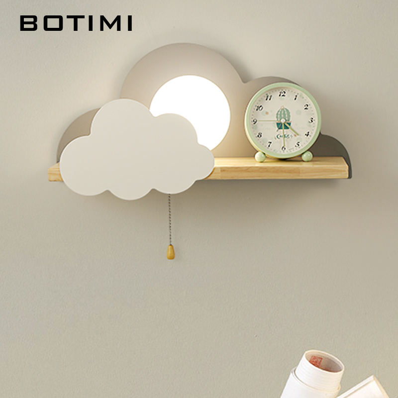 Image 4 - BOTIMI Children LED Wall Lamp For Bedroom Glass Lampshade Cloud Metal Cartoon Boys Bedside Lighting Kids Room Girls Wall Sconce-in LED Indoor Wall Lamps from Lights & Lighting