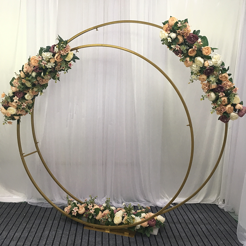 celebration : wedding props birthday party decor wrought iron circle round ring arch backdrop arch lawn artificial flower row stand wall shelf