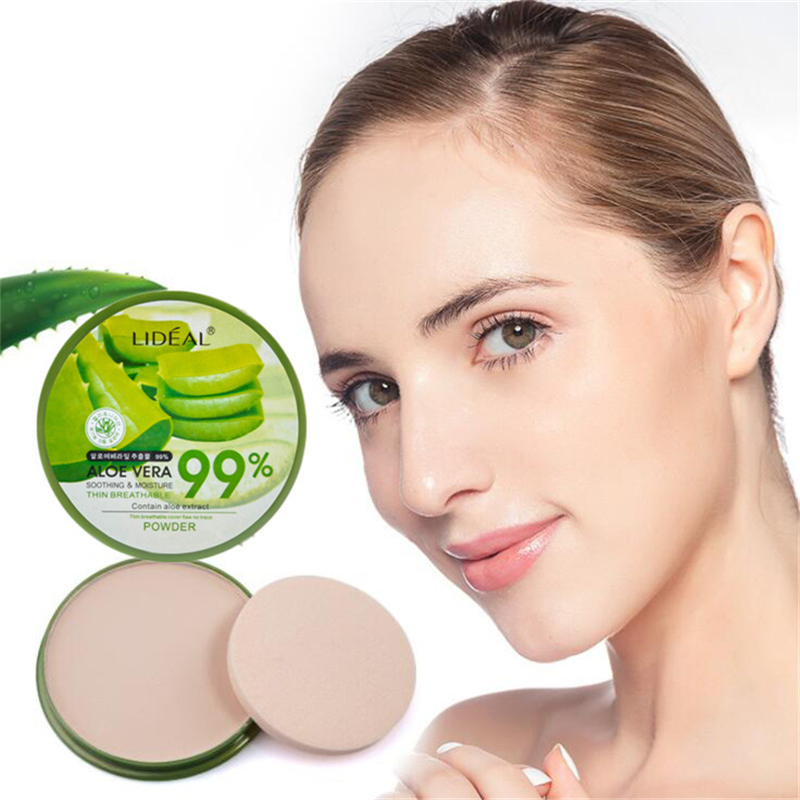 New 99% Aloe Vera Moisturizing Smooth Foundation Pressed Powder Makeup Concealer Pores Cover Whitening Brighten Face Powder image