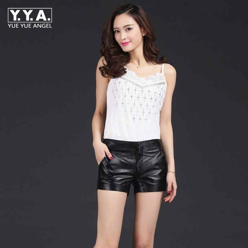 2020 New Fashion Women Package Hip Genuine Leather Shorts Top Quality Brand Shorts Slim Female Lady Three Button Plus Size M-3XL