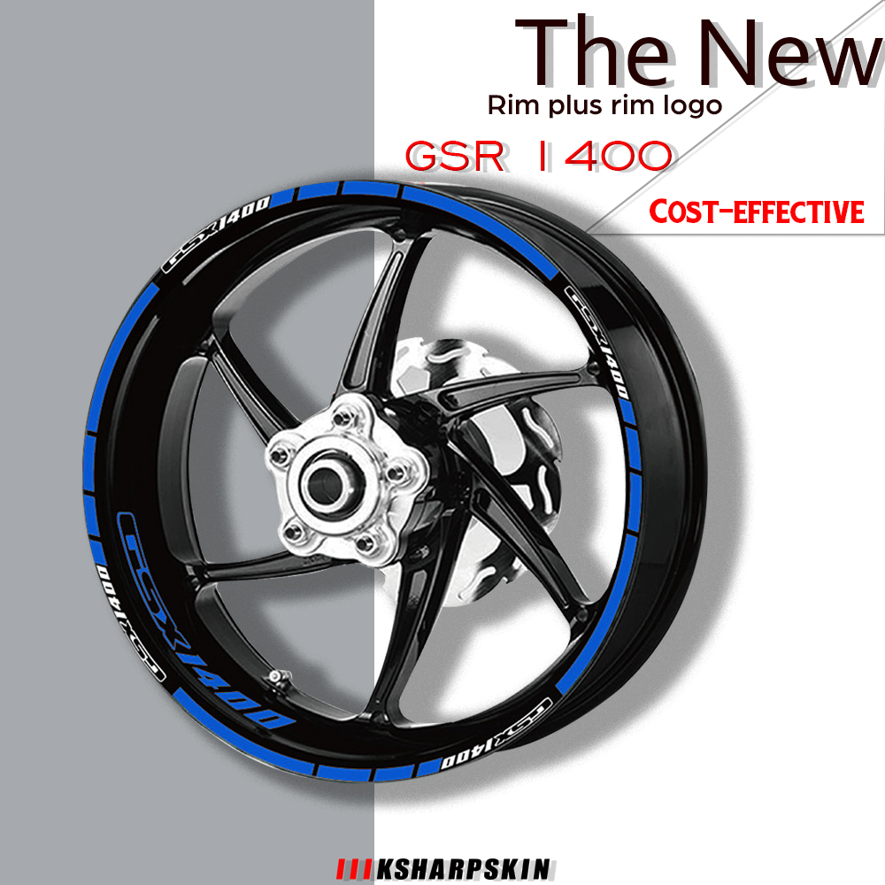 Motorcycle waterproof tire <font><b>sticker</b></font> and rim logo reflective decal combination wheel <font><b>stickers</b></font> set for <font><b>Suzuki</b></font> GSX1400 gsx 1400 image