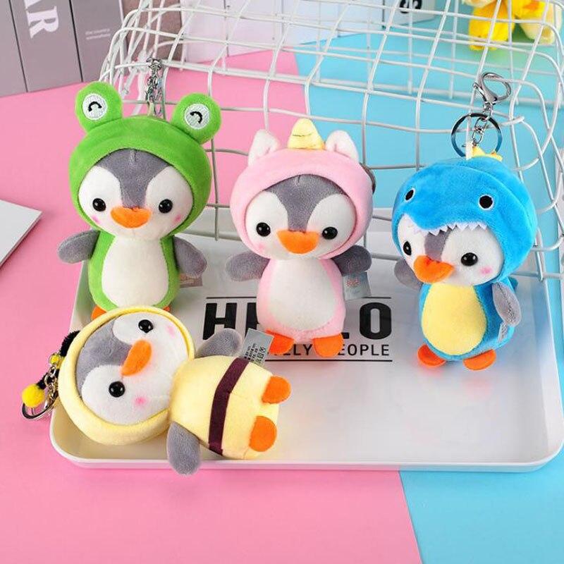 1 Pcs Nette 12cm Pinguin Plüsch Tier Anhänger Keychain Puppe Spielzeug für Kinder Kinder Kleine Mini Plüsch Spielzeug geschenke