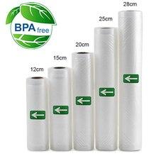 Sacos seladoras à vácuo, 5 rolos/1 lote 12 + 15 + 20 + 25 + 28*500 cm sacos de armazenamento de alimentos para selador a vácuo, embalador de alimentos frescos