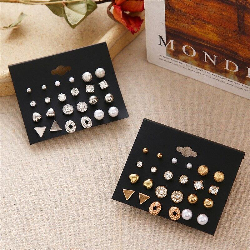 Minimalist Mixed Small Earrings Set Fashion Rhinestone Pearl Geometric Flower Heart Star Stud Earrings For Women Girls Jewelry 2
