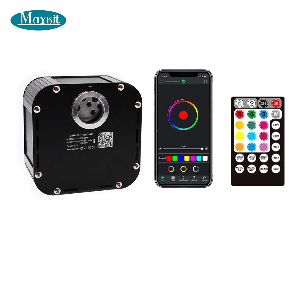 Maykit APP Bluetooth 50W RGBW LED Fiber Optic Illuminator For Star Ceiling Pool Floor