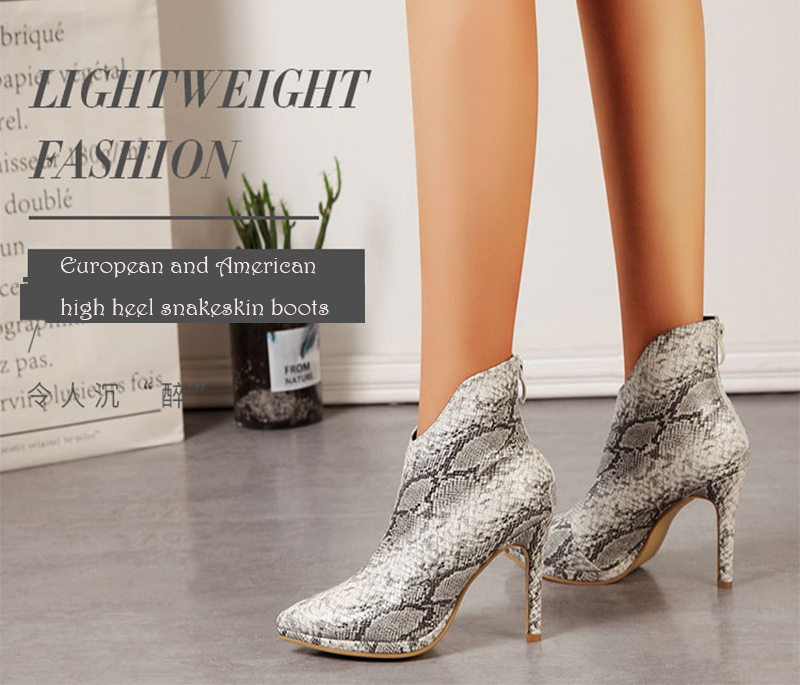 New snakeskin design Chelsea boots high heels sexy lady wedding shoes black ankle size 35-42