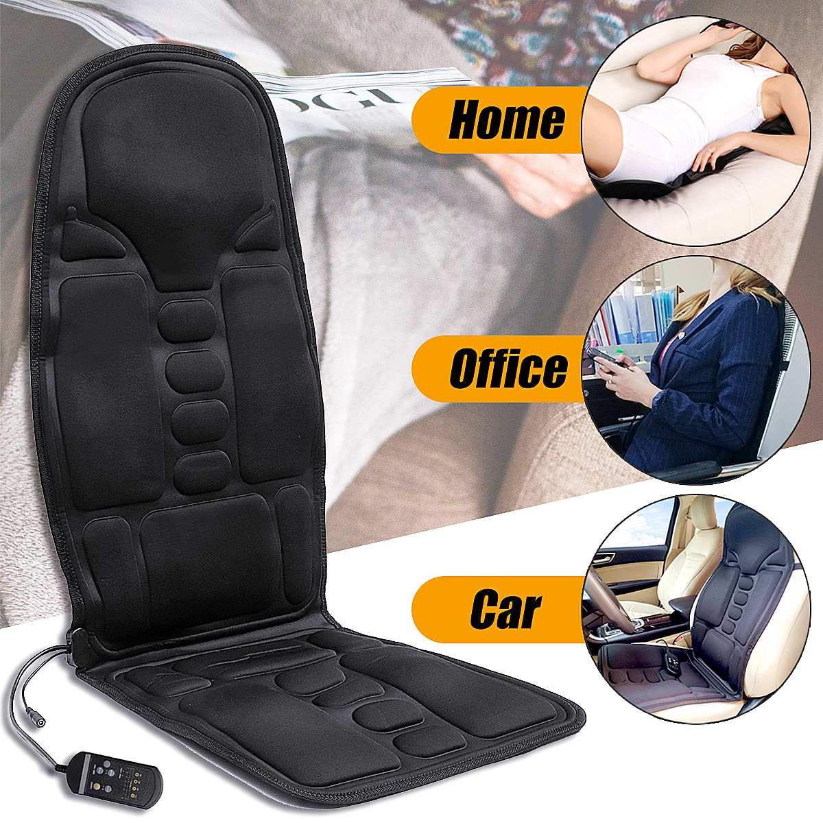 Electric Mulifunction Back Heated Massage Car Seat Home Office Cushion Car Seat Chair Massager Lumbar Back Neck Pad Relaxation