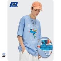 인플레이션 남성용 재미있는 티셔츠, 스트리트웨어, 여름, 세련된 그래픽 반사 티셔츠, 남성용 블루 힙합 티셔츠, 십대용 5404S21