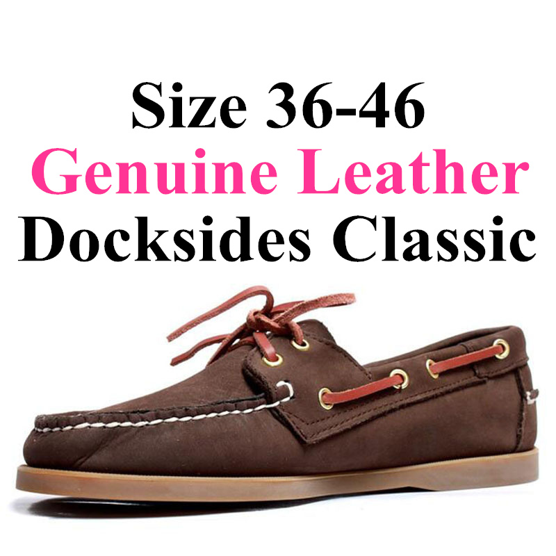 Men Women Spinnaker Genuine Leather Docksides Classic Loafers Boat Shoes 2019A102