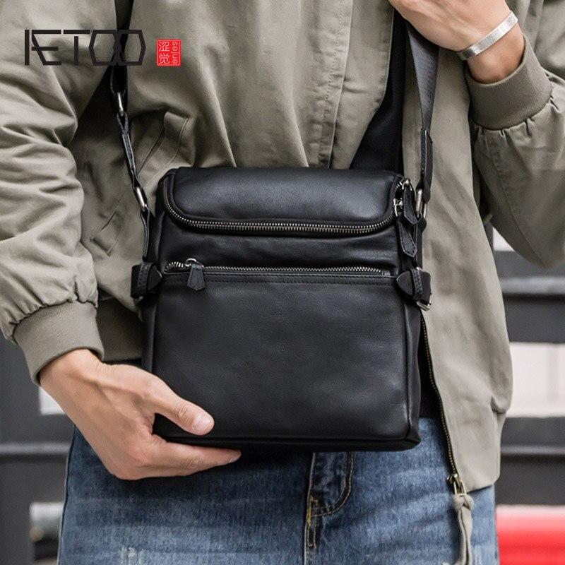 Мужская сумка AETOO из мягкой кожи, мужская сумка через плечо, стильная кожаная деловая Повседневная сумка, кожаная Наклонная Сумка| |   | АлиЭкспресс