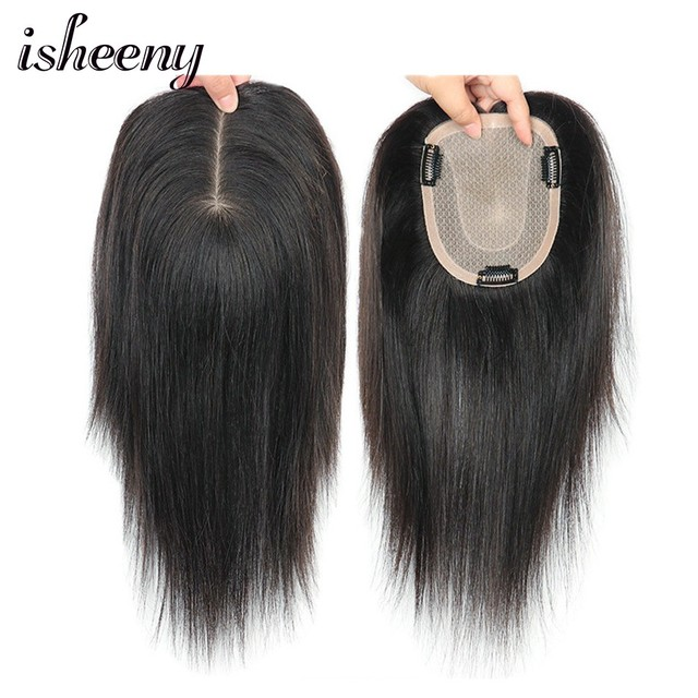 """8"""" 10"""" 12"""" Human Hair Topper Wig For Women 12*14 Breathable Fine MONO U Style With Clip In Hair Toupee Remy Hairpiece"""