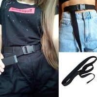 Mujeres Hombres Unisex cinturones de lona Casual mujer hebilla de plástico cintura táctico cinturones Harajuku larga de Color sólido negro Jeans cintura