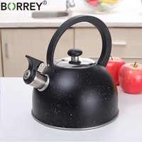 Чайник со свистком из нержавеющей стали BORREY, 2,5 л, индукционная плита, газовая плита, чайник для кемпинга, металлический чайник для приготовл...