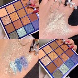 Clear Sky-paleta de sombras de ojos, 16 colores, brillo mate, maquillaje de ojos suave, larga duración, pigmentado, metalizado, brillante