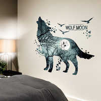 [SHIJUEHEZI] Creative Cool Wolf Wall Stickers DIY Animal Mural Decals for House Kids Rooms Baby Bedroom Living Room Decoration