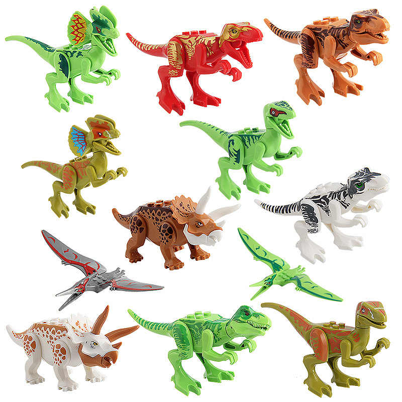 Zhu luo ji Dinosaur Small Particles Building Blocks Assembled Children'S Educational DIY Toy Fight Inserted 12-Dinosaur Building