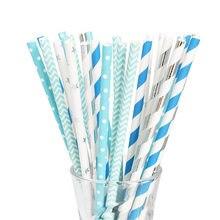 25 50 sztuk słomki papierowe materiały na wesele 19 cm Multicolor papierowe słomki do picia niebieski urodziny dziecka dekoracja na Baby Shower