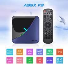 O núcleo do quadrilátero de amlogic s905x3 do andróide 9.0 ajustou a caixa superior 4gb ram 32gb 64gb wifi 2.4g/5g hd 4k tevê o receptor media player