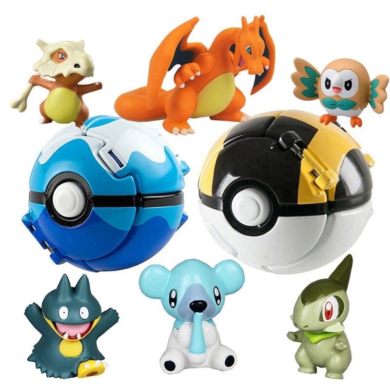 Poke Pikachu + 1pcs Free Random Tiny Figures Inside Action Figures Toys Ball