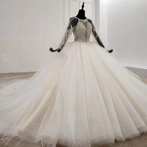 Image 3 - HTL1122 свадебное платье с длинным рукавом, специальное бальное платье с круглым вырезом и аппликацией из бисера, платье невесты с длинным шлейфом, abiti da sposa