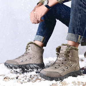 Image 5 - Men Boots High Top Plus Velvet Keep Warm Big Size Ankle Boot Anti Slip Snow Shoes Winter Male Shoes Sports Rubber Sneakers