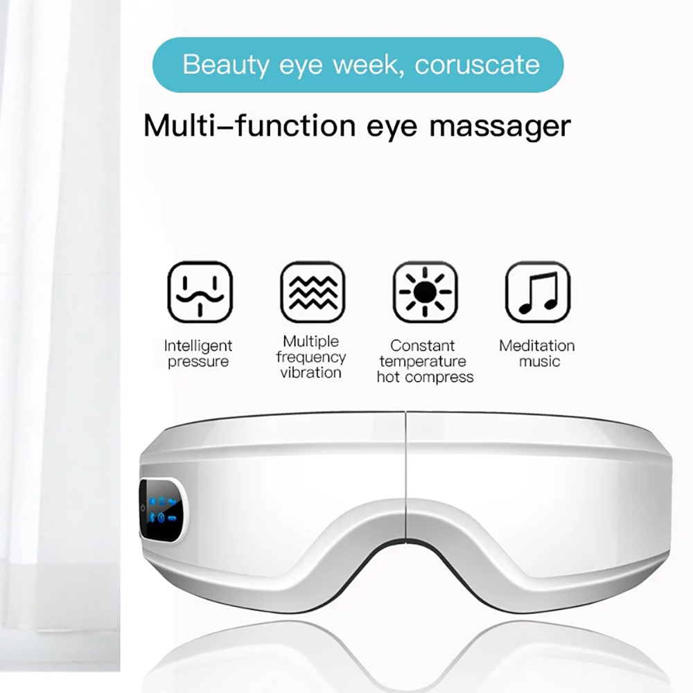 Eye Massager Electric Vibration Hot Compress Heating Therapy Bluetooth Anti Wrinkles Eye Care Glasses Device Sleep Mask Glasses