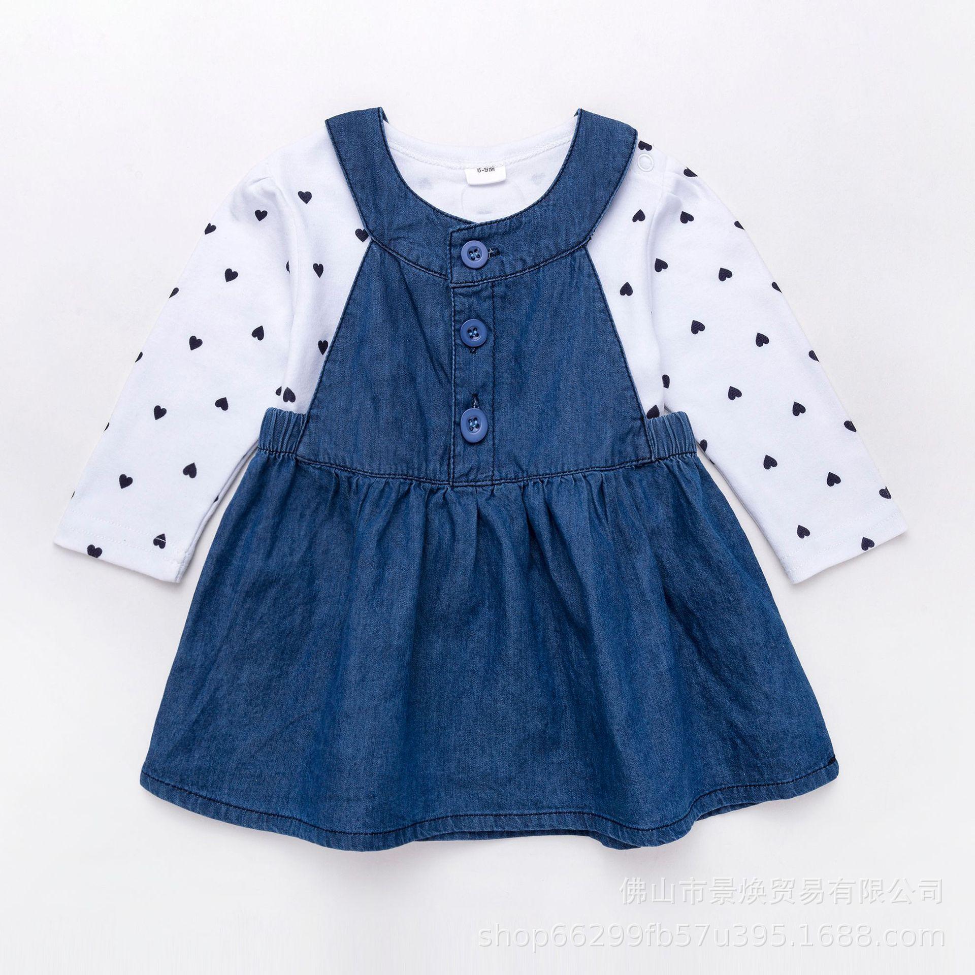 Denim jupe printemps automne Long blanc coeur motif coton bébé fille vêtements doux Style filles robes 2019 Design de mode