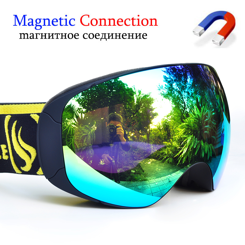 Ski Goggles Magnetic Double Layers Lens Skiing With Anti-fog UV Protection Snowboard Goggles For Men Women Ski Glasses Eyewear