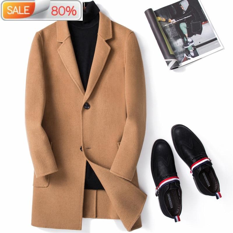 100%Wool Spring Autumn Long Men Double-sided Korean Coat and Jacket Casaco Masculino M063 YY312