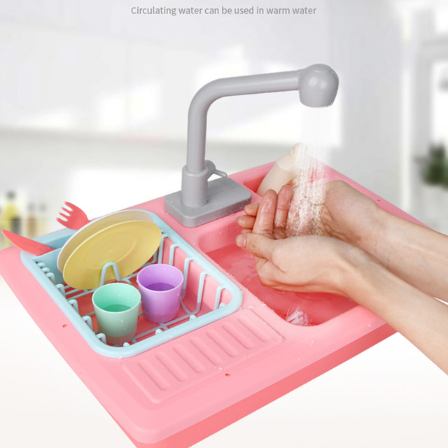 Kid Kitchen Toy Set Simulated Electric Dishwasher Pretend Table Play Plastic Cartoon Safe Cute House Toys for Children Girl Gift