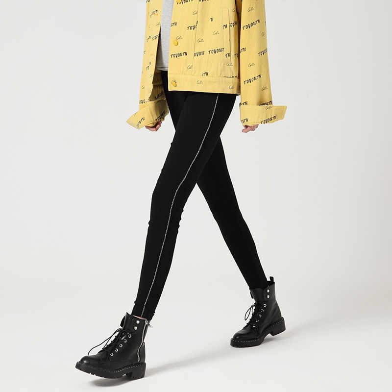 Toyouth Осенние новые черные леггинсы, верхняя одежда, тонкие повседневные штаны, тонкие узкие брюки