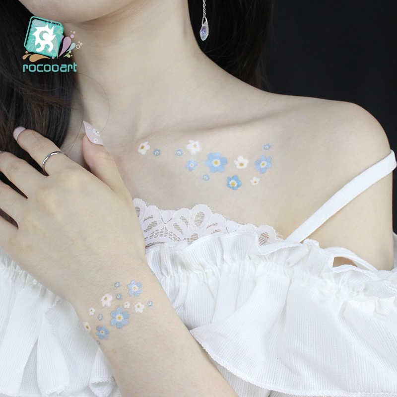 Rocooart, pegatinas de tatuaje temporal de Margarita pequeña, tatuaje facial de flores para fiesta de maquillaje, tatuaje falso impermeable, tatuaje de manos para mujer y chica