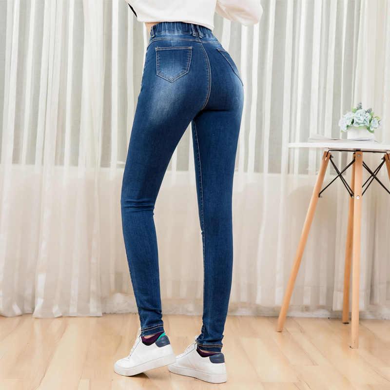 LEIJIJEANS 2019 otoño cintura elástica alto lavado de la cintura con ajuste de pierna mujer jean señoras 5XL talla grande pantalones vaqueros elásticos para mujer