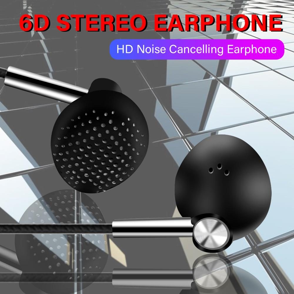 3.5mm Wired Earphone Super Bass Earphones 6D Stereo Headset With Mic Sport Earbuds For Redmi Note 8 Pro Mi A3 P20 P30 Lite
